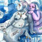 Two lesbian mermaids lounging.